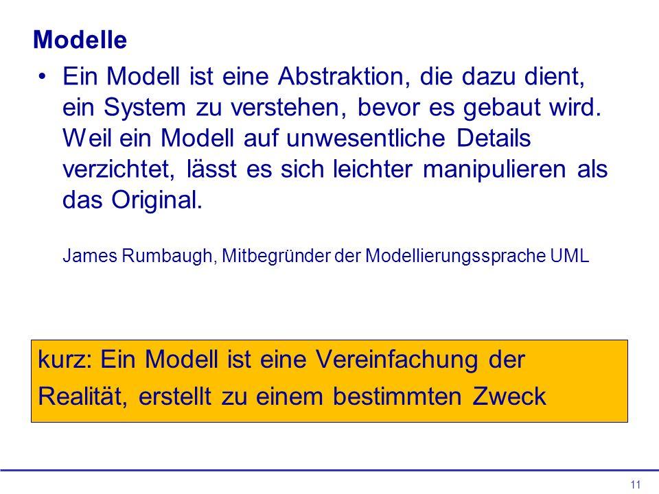 kurz: Ein Modell ist eine Vereinfachung der