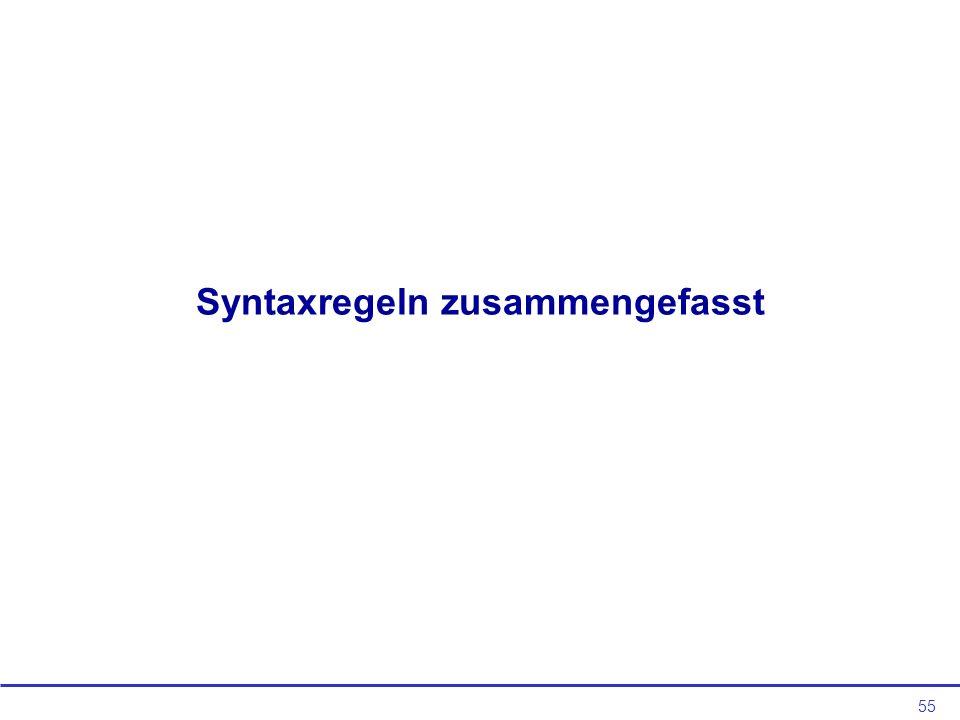 Syntaxregeln zusammengefasst