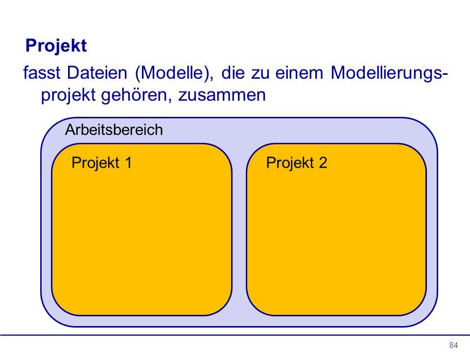 Projekt fasst Dateien (Modelle), die zu einem Modellierungs-projekt gehören, zusammen. Arbeitsbereich.