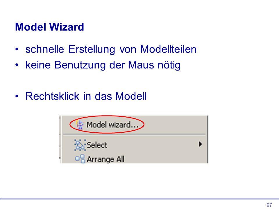 Model Wizard schnelle Erstellung von Modellteilen.