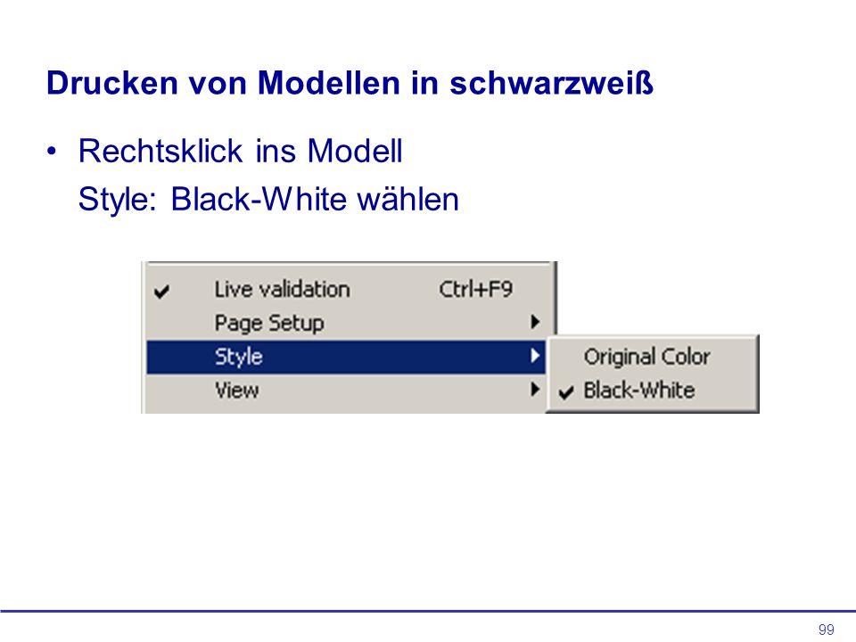 Drucken von Modellen in schwarzweiß