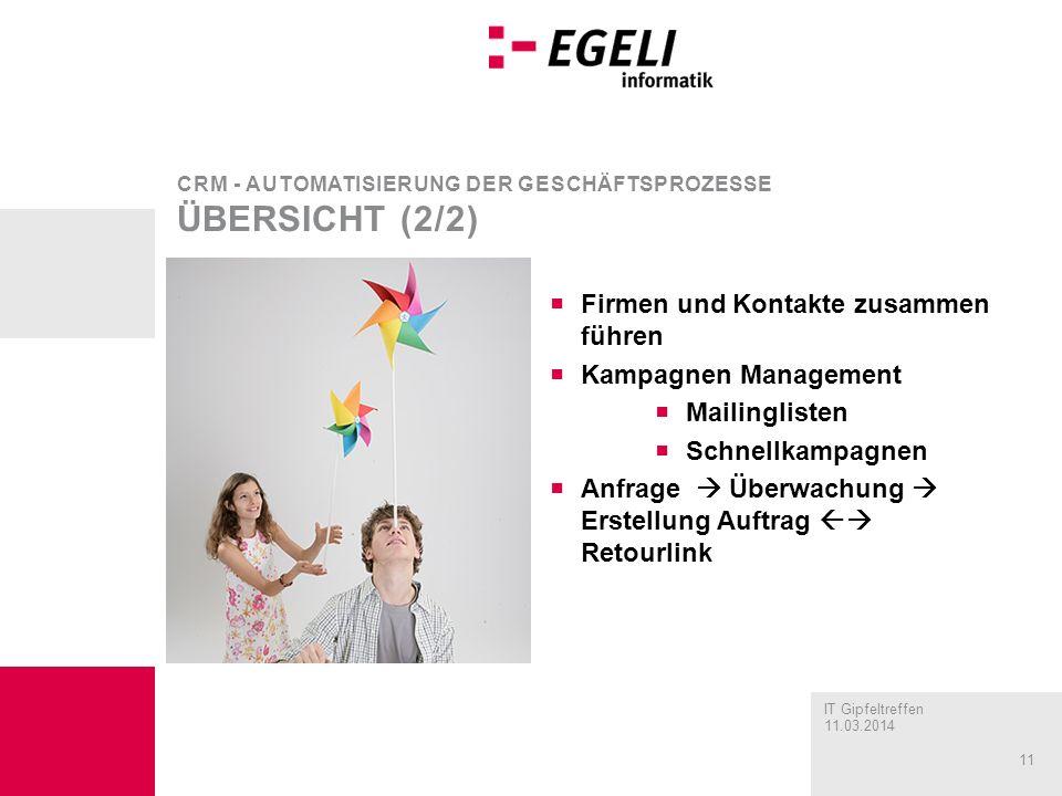 CRM - Automatisierung der Geschäftsprozesse Übersicht (2/2)