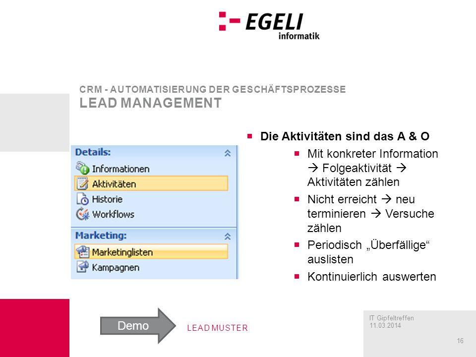 CRM - Automatisierung der Geschäftsprozesse Lead management