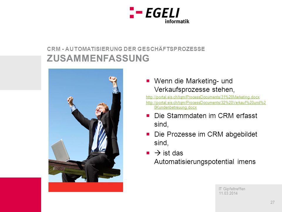 CRM - Automatisierung der Geschäftsprozesse zusammenfassung