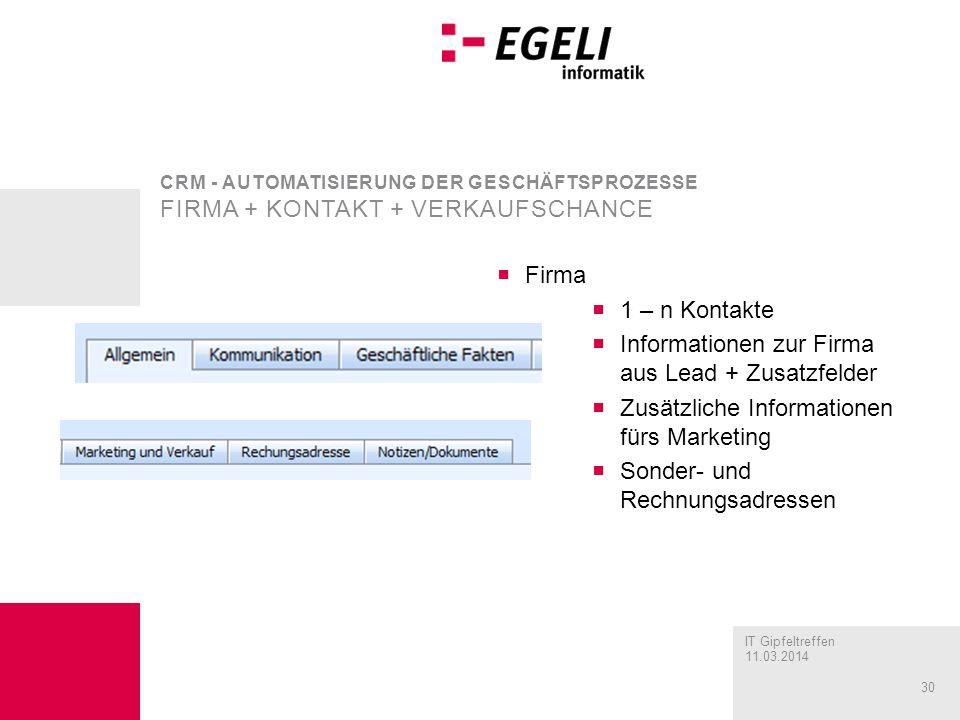 Informationen zur Firma aus Lead + Zusatzfelder
