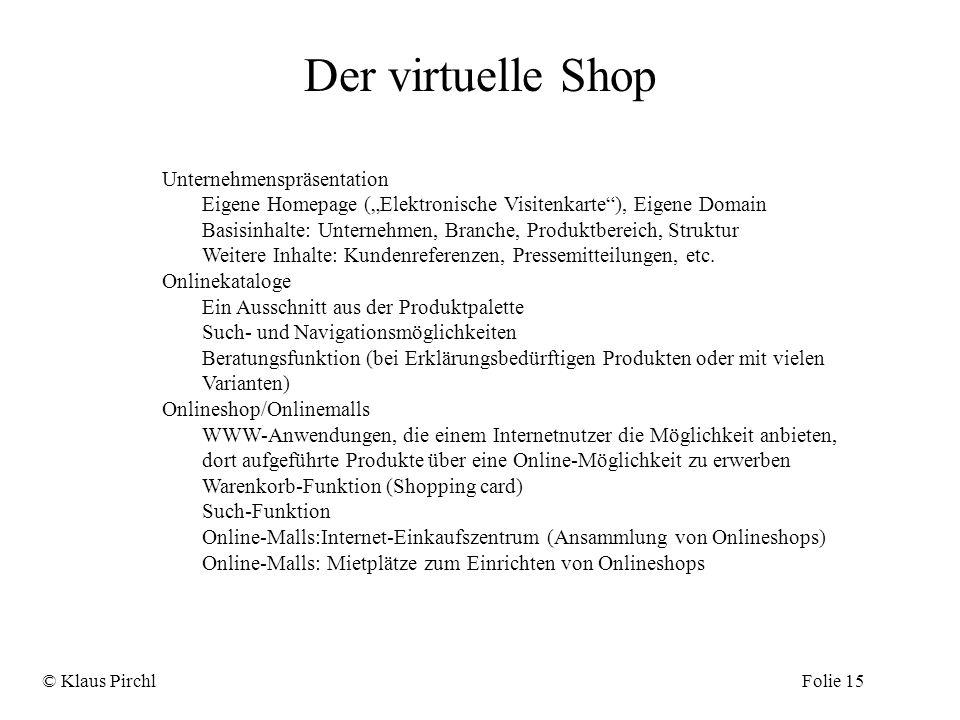 Der virtuelle Shop Unternehmenspräsentation