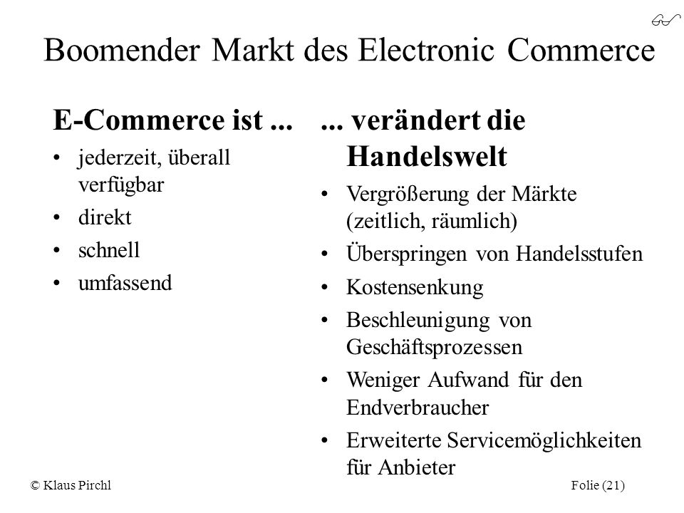 Boomender Markt des Electronic Commerce