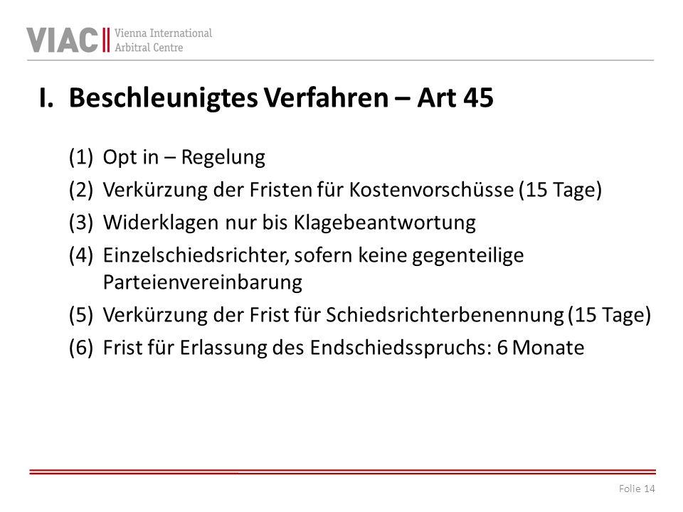 Beschleunigtes Verfahren – Art 45