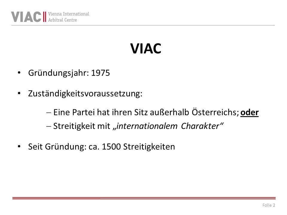 VIAC Gründungsjahr: 1975 Zuständigkeitsvoraussetzung: