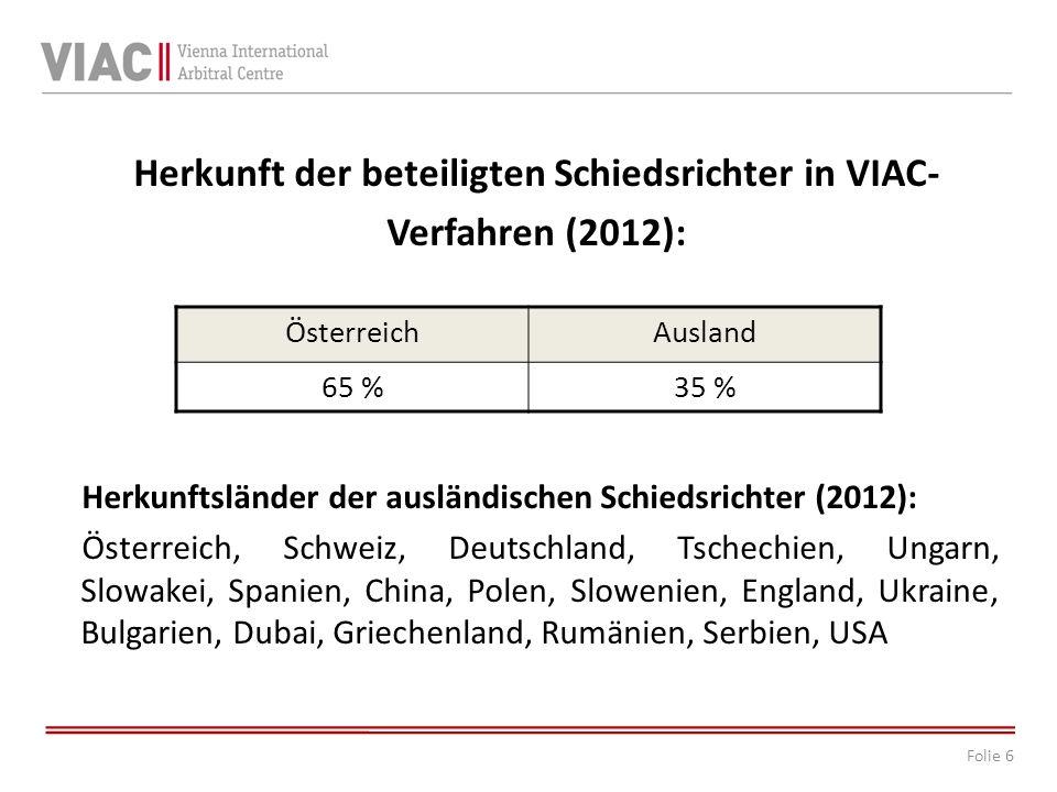 Herkunft der beteiligten Schiedsrichter in VIAC-