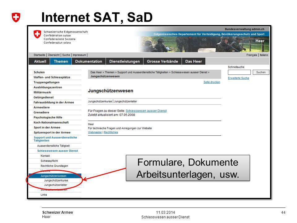 Internet SAT, SaD Formulare, Dokumente Arbeitsunterlagen, usw.