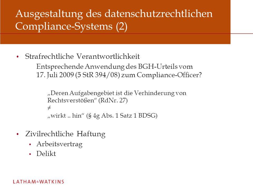 Ausgestaltung des datenschutzrechtlichen Compliance-Systems (2)