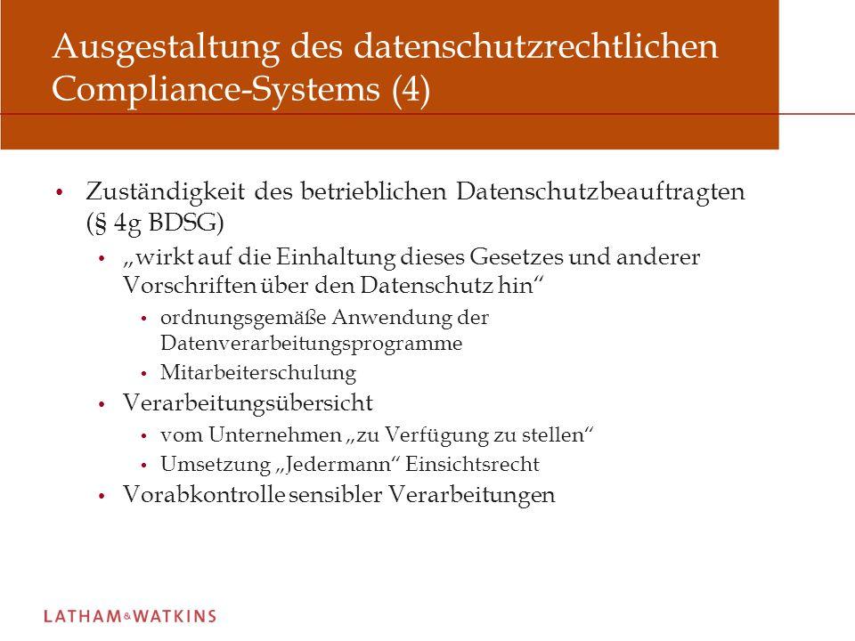Ausgestaltung des datenschutzrechtlichen Compliance-Systems (4)