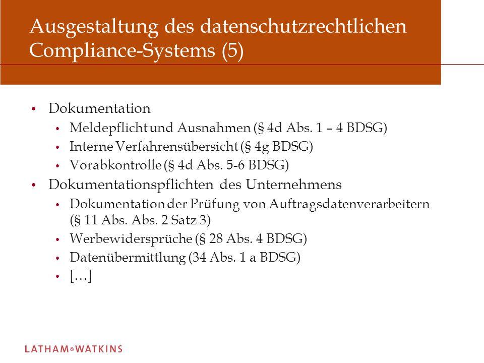 Ausgestaltung des datenschutzrechtlichen Compliance-Systems (5)