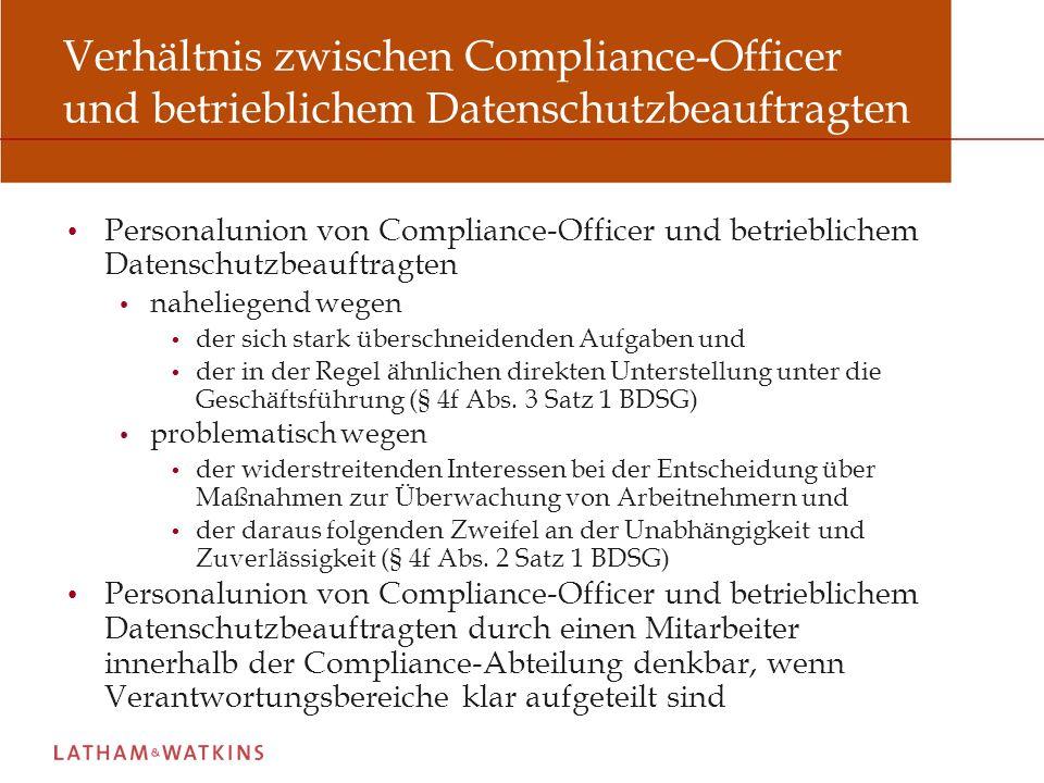 Verhältnis zwischen Compliance-Officer und betrieblichem Datenschutzbeauftragten