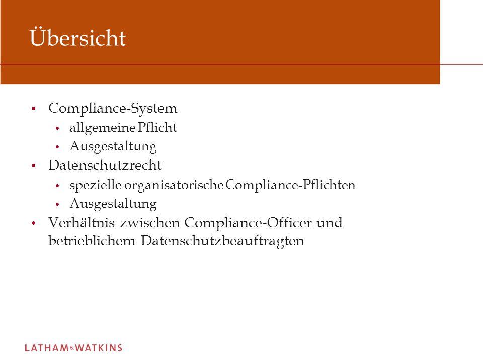 Übersicht Compliance-System Datenschutzrecht
