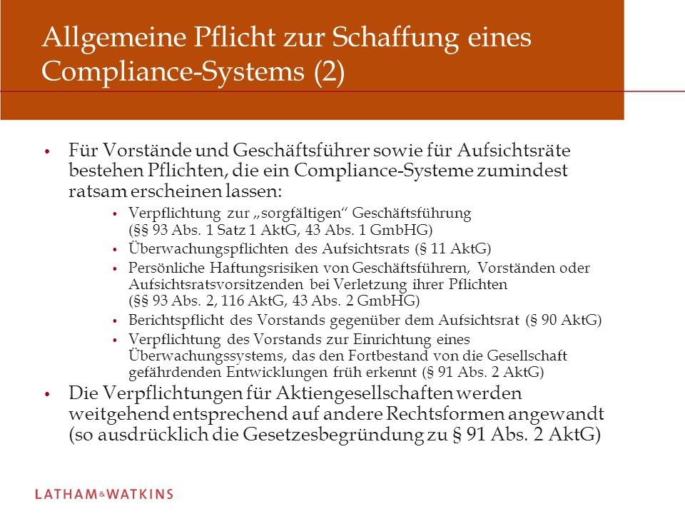 Allgemeine Pflicht zur Schaffung eines Compliance-Systems (2)