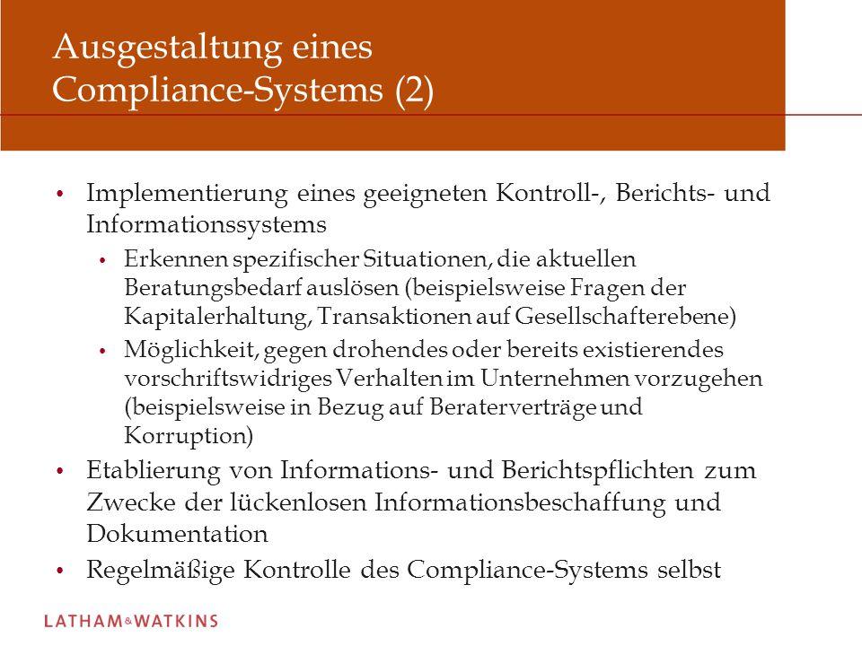 Ausgestaltung eines Compliance-Systems (2)