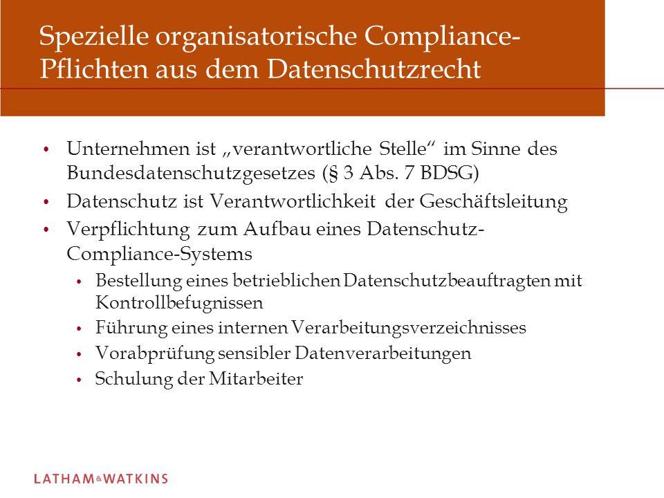 Spezielle organisatorische Compliance-Pflichten aus dem Datenschutzrecht
