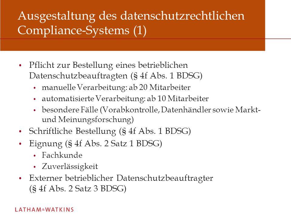 Ausgestaltung des datenschutzrechtlichen Compliance-Systems (1)