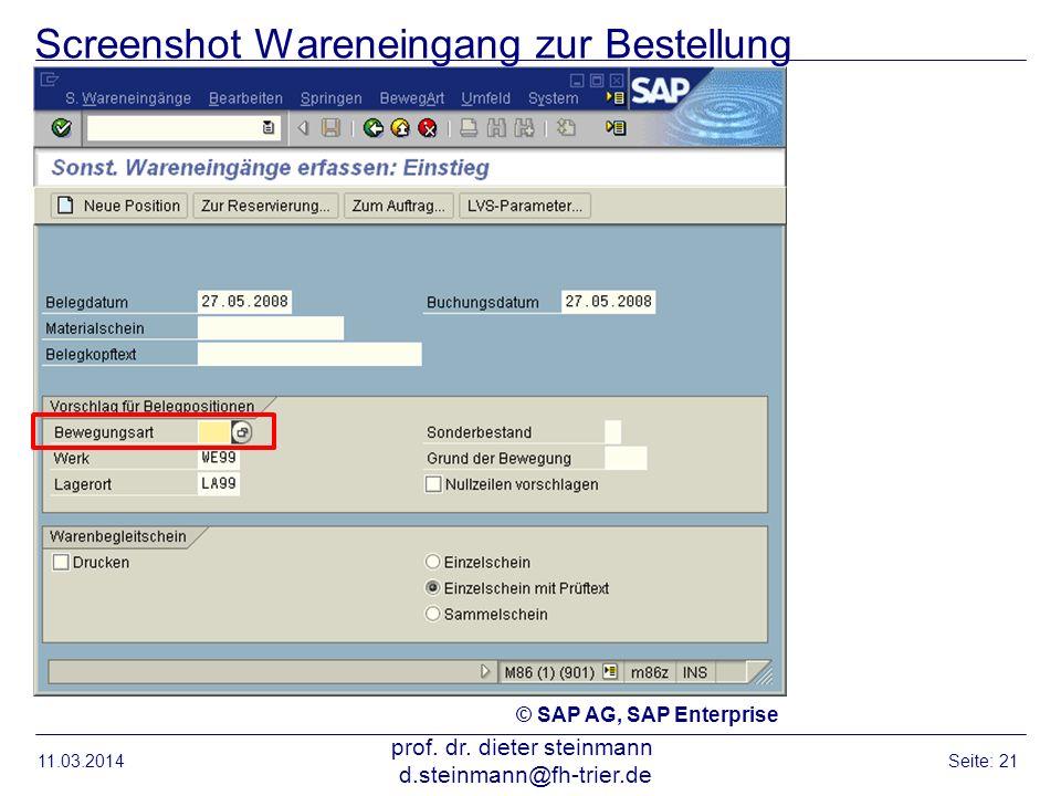 Screenshot Wareneingang zur Bestellung