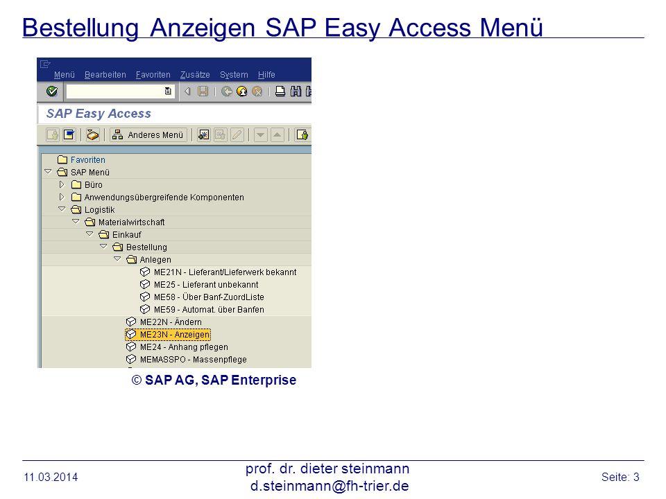 Bestellung Anzeigen SAP Easy Access Menü
