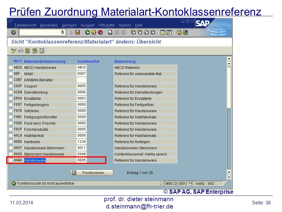Prüfen Zuordnung Materialart-Kontoklassenreferenz