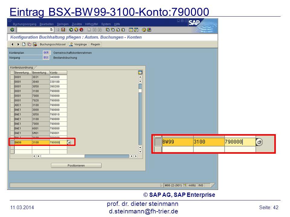 Eintrag BSX-BW99-3100-Konto:790000