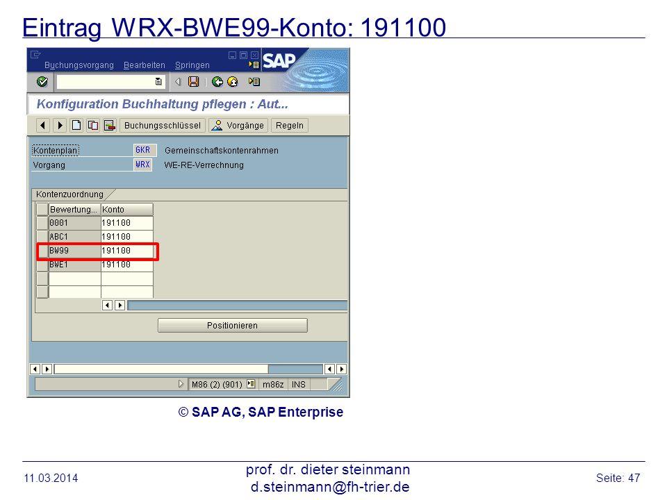 Eintrag WRX-BWE99-Konto: 191100