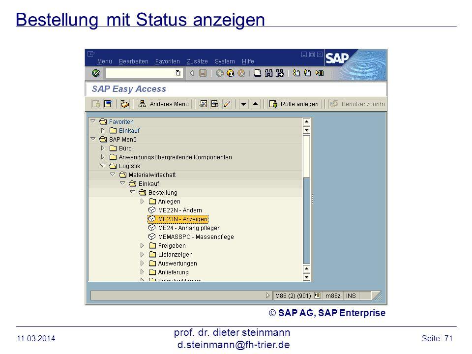 Bestellung mit Status anzeigen
