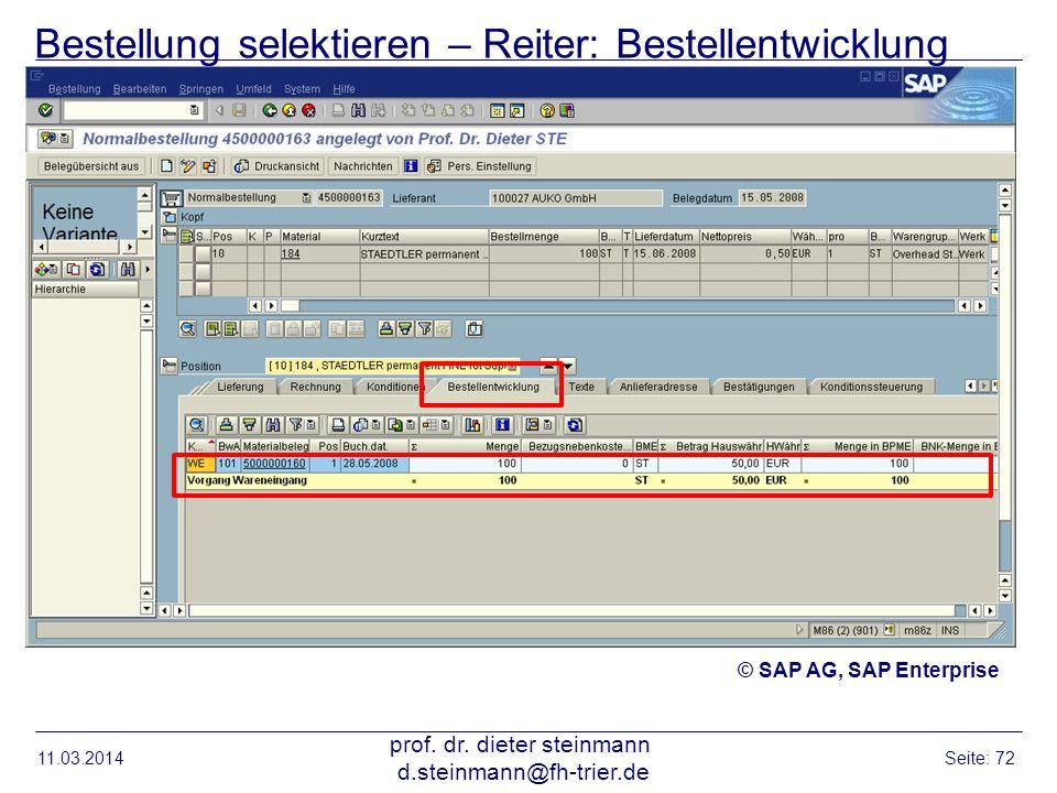 Bestellung selektieren – Reiter: Bestellentwicklung