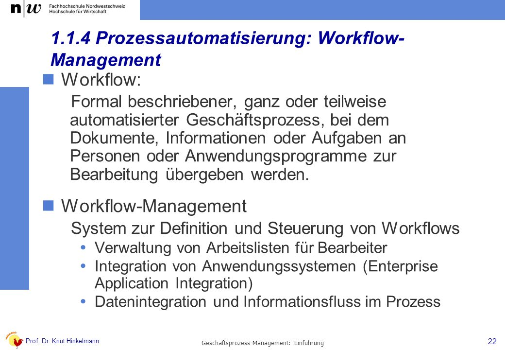 1.1.4 Prozessautomatisierung: Workflow-Management