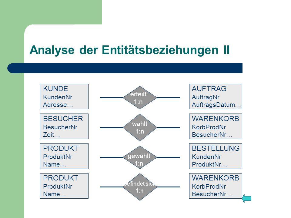 Analyse der Entitätsbeziehungen II