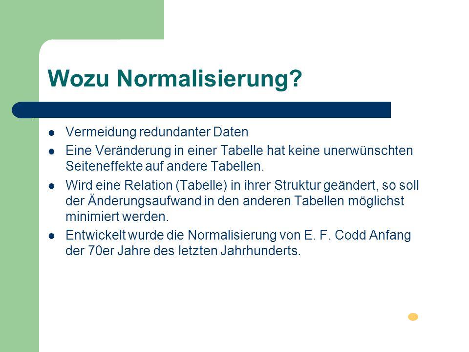 Wozu Normalisierung Vermeidung redundanter Daten