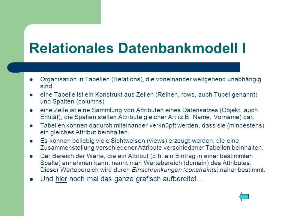 Relationales Datenbankmodell I