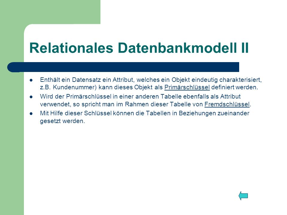 Relationales Datenbankmodell II