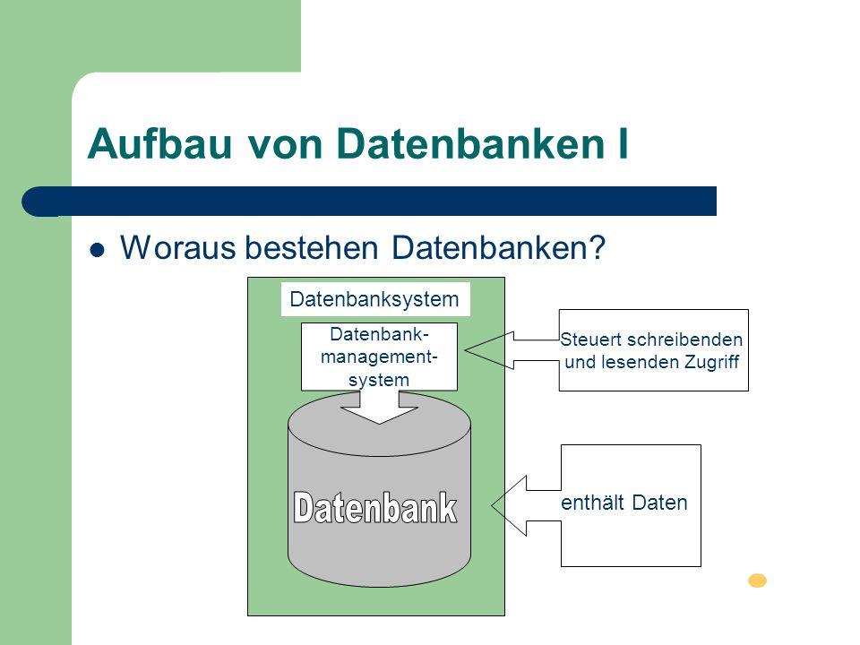 Aufbau von Datenbanken I