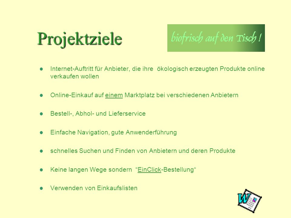 Projektziele Anleitung: