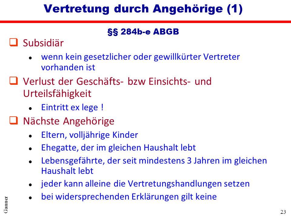 Vertretung durch Angehörige (1) §§ 284b-e ABGB
