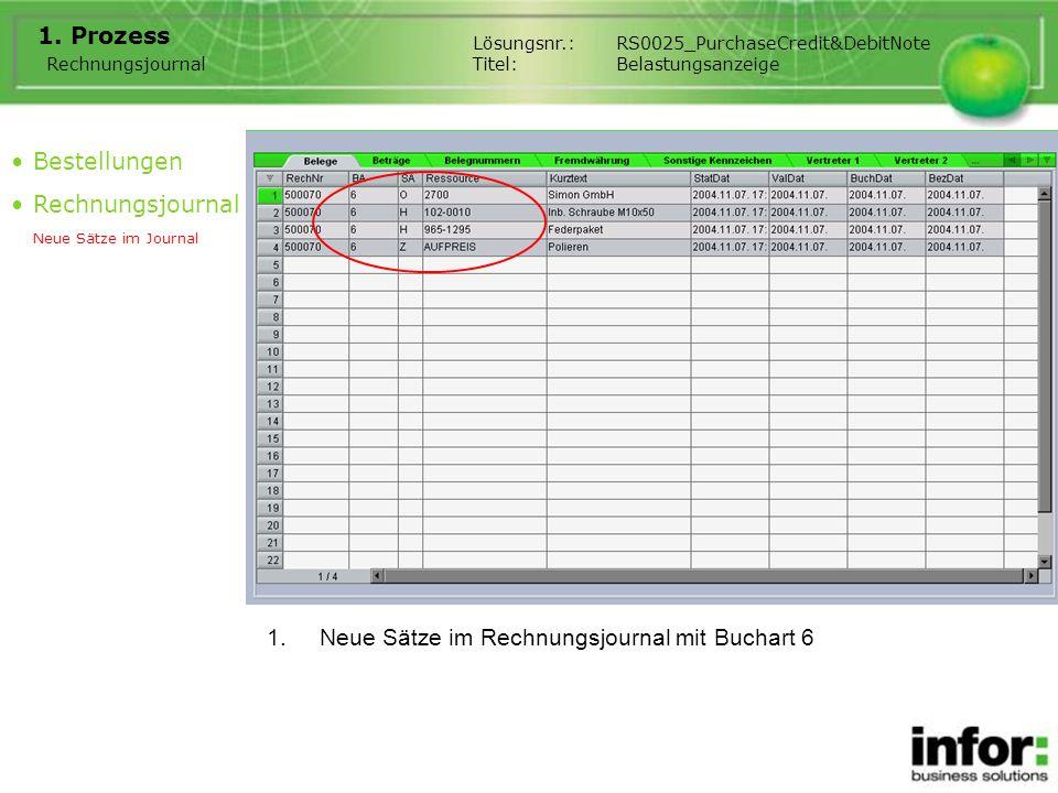 Neue Sätze im Rechnungsjournal mit Buchart 6