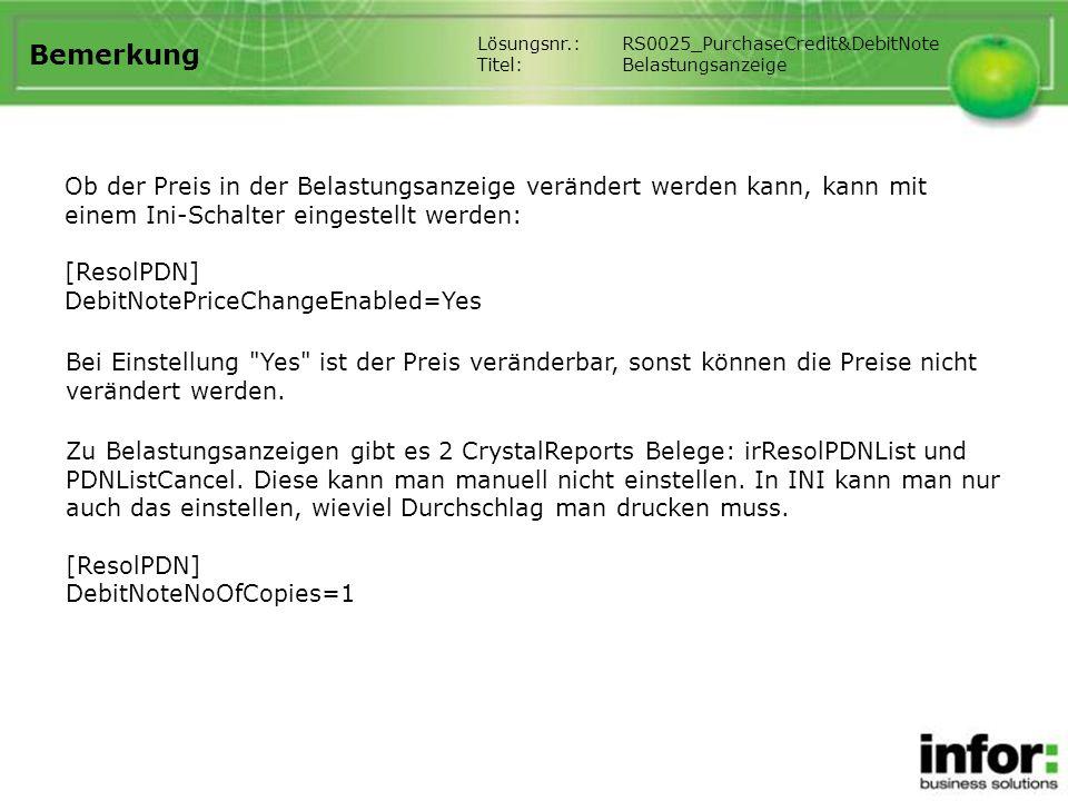 Bemerkung Lösungsnr.: RS0025_PurchaseCredit&DebitNote. Titel: Belastungsanzeige.