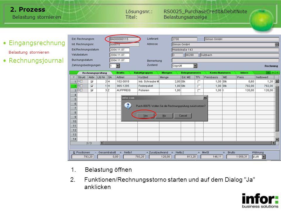 Funktionen/Rechnungsstorno starten und auf dem Dialog Ja anklicken
