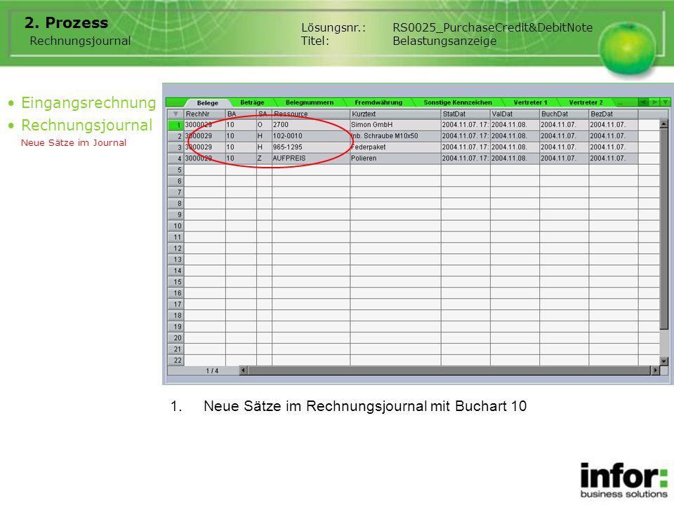 Neue Sätze im Rechnungsjournal mit Buchart 10