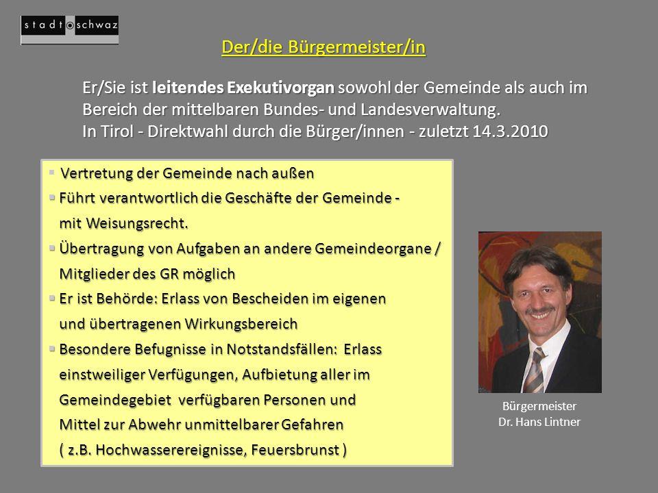 Der/die Bürgermeister/in
