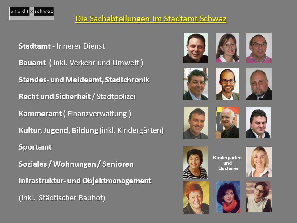 Die Sachabteilungen im Stadtamt Schwaz