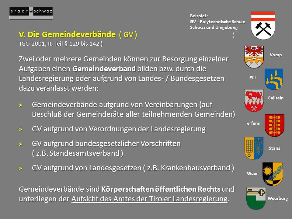 V. Die Gemeindeverbände ( GV ) ( TGO 2001, II. Teil § 129 bis 142 )