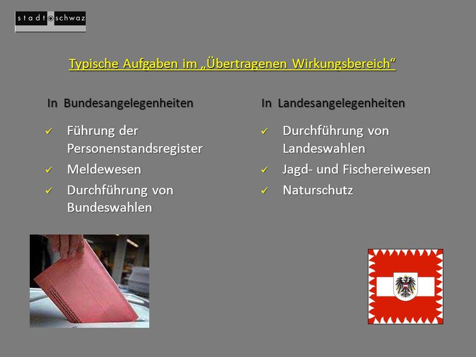"""Typische Aufgaben im """"Übertragenen Wirkungsbereich"""