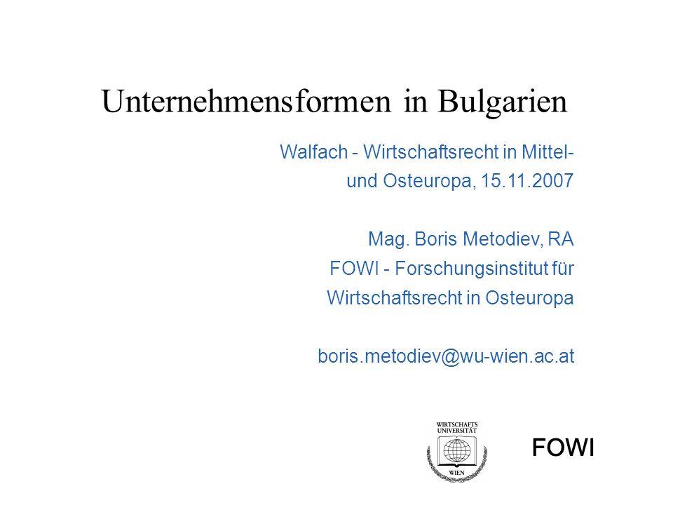 Unternehmensformen in Bulgarien