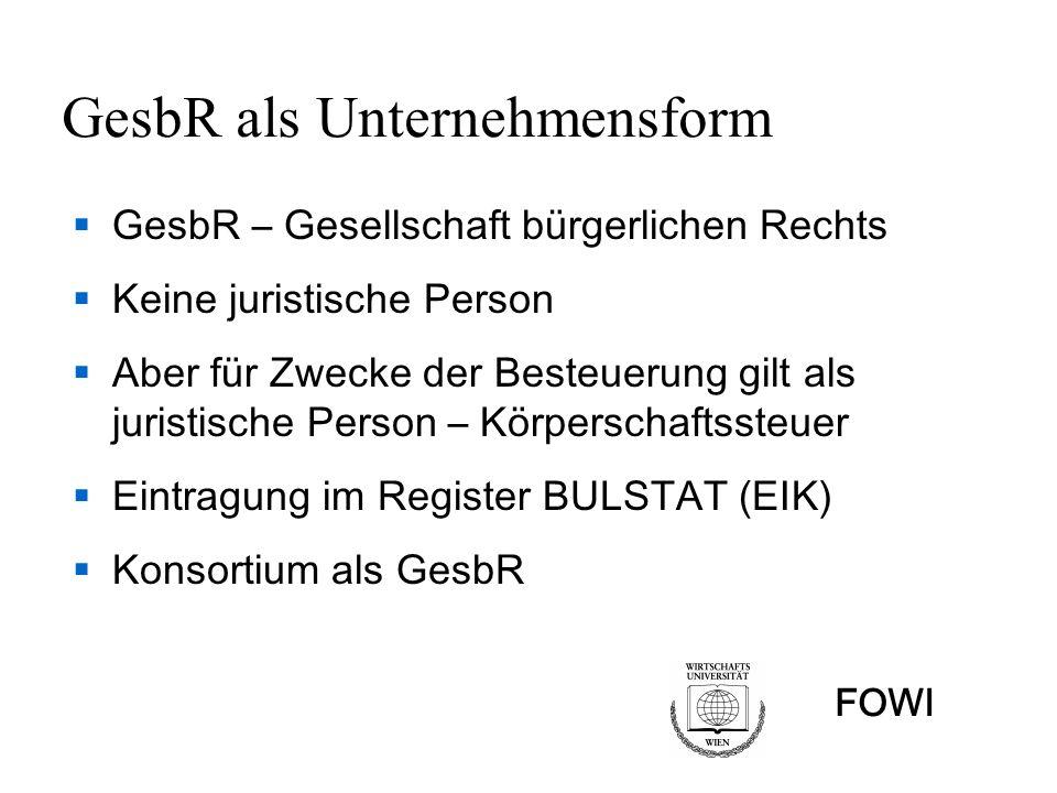 GesbR als Unternehmensform