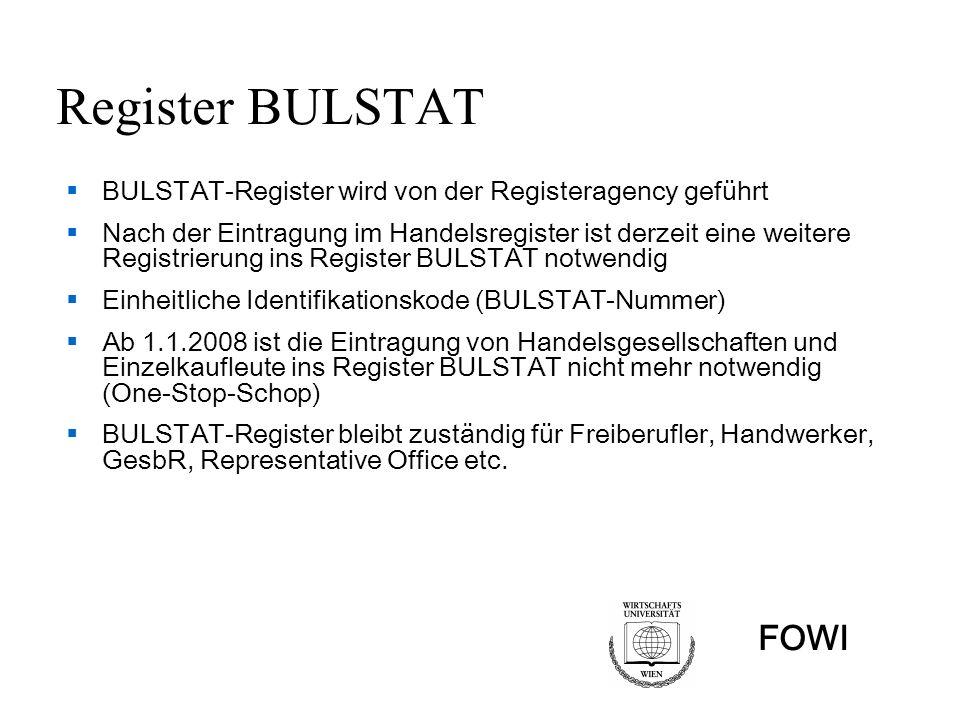 Register BULSTAT BULSTAT-Register wird von der Registeragency geführt